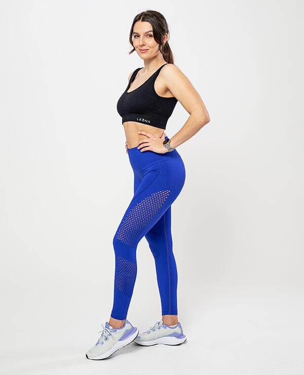 Športne pajkice za ženske Gala– modre z detajli, raztegljive, fleksibilne, brezšivne legice s topkom. Bogata izbira materialov in barv. Leona legice – najboljša ponudba pajkic.