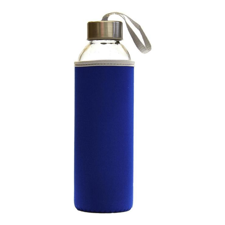 Steklenička za vodo Leona s pokrovom - modra.